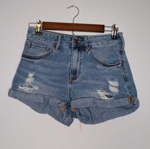Bullhead high-rise distressed jean shorts